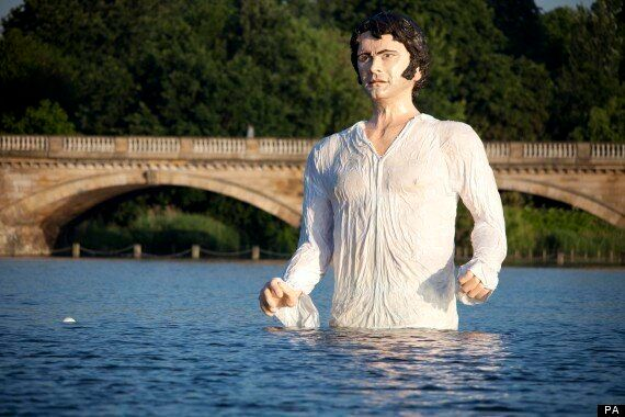 Colin Firth Statue As Mr Darcy In 'Pride And Prejudice' Emerges From Hyde Park Lake To Mark Launch Of...