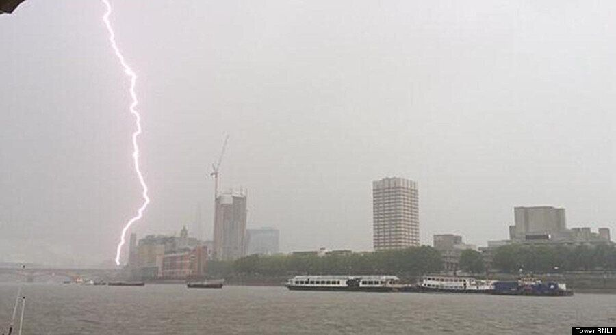 Incredible Moment London's Shard Is Struck By Lightning