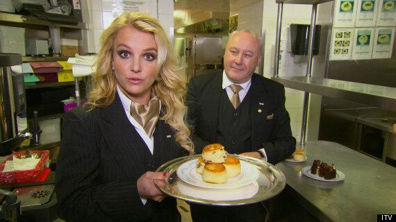Britney Spears Is Hilarious As A British Waitress In The 'Surprise Surprise' Christmas Special