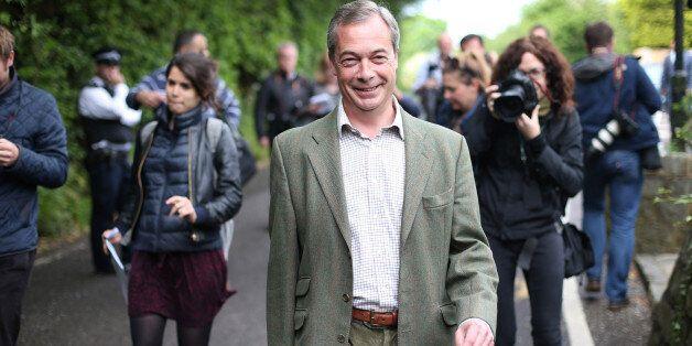 BIGGIN HILL, UNITED KINGDOM - MAY 22: United Kingdom Independence Party (UKIP) leader Nigel Farage walks...