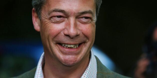 UKIP Leader Nigel Farage poses for photographers as leaves Cudham Church of England Primary School in...