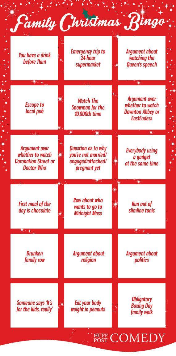 Christmas Bingo.Family Christmas Bingo Card Huffpost Uk