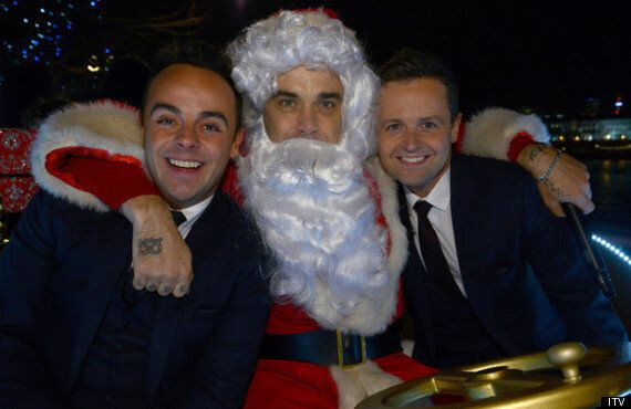 Robbie Williams Takes A Ride With Ant & Dec For Text Santa