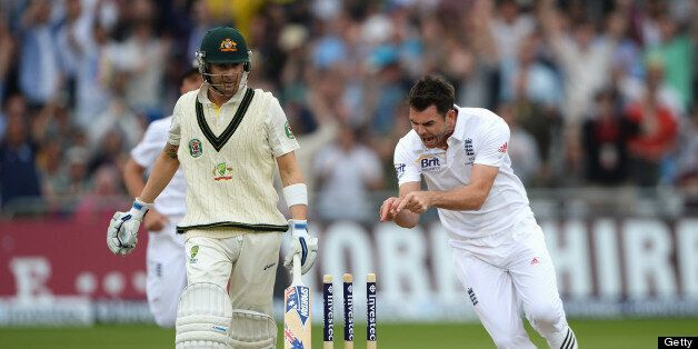 NOTTINGHAM, ENGLAND - JULY 10: James Anderson of England celebrates the wicket of Michael Clarke, captain...