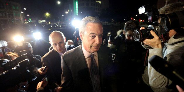 UKIP leader, Nigel Farage talks to the press prior to the UKIP rally for the European elections, held...