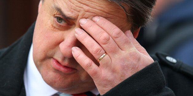 BNP leader Nick Griffin talks to a members of the public as he canvases for votes in Wythenshawe, Manchester,...