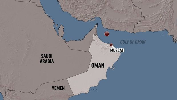 OMAN shaded relief map highlighted with MUSCAT (capital) and tanker attack site locators, partial graphic