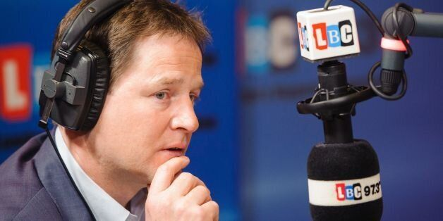 Deputy Prime Minister Nick Clegg during the Call Clegg show, on LBC 97.3 radio, at studios in Leicester...