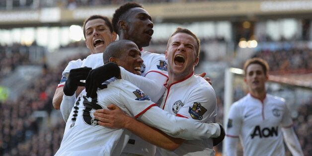 HULL, ENGLAND - DECEMBER 26: Tom Cleverley, Ashley Young, Danny Welbeck and Javier Hernandez of Manchestere...