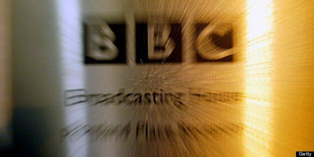 The BBC logo at Portland Place is shown after the release of the Hutton Report lead to the resignation...