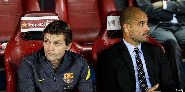 MADRID, SPAIN - MAY 25: Head coach Pep Guardiola (R) of Barcelona looks on beside his assistant Tito...
