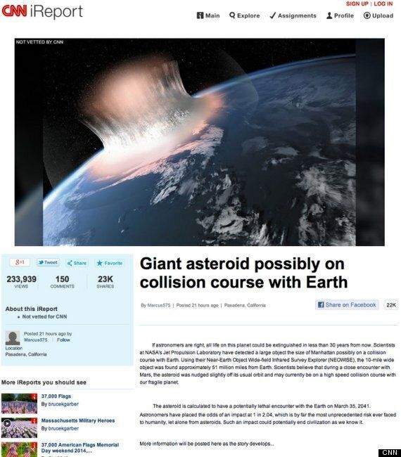 CNN Asteroid Hoax: No, An Asteroid Will Not Extinguish All Life In