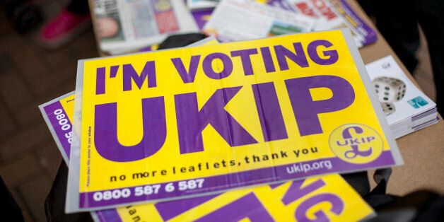 CROYDON, ENGLAND - MAY 20: A UKIP party poster outside Whitgift Shopping Centre in Croydon on May 20,...