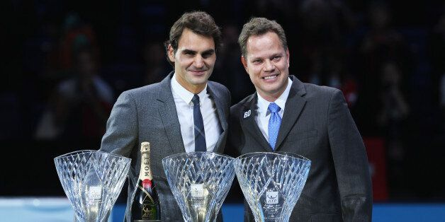 LONDON, ENGLAND - NOVEMBER 06: Roger Federer of Switzerland poses with the ATPWorldTour.com Fans' Favourite...