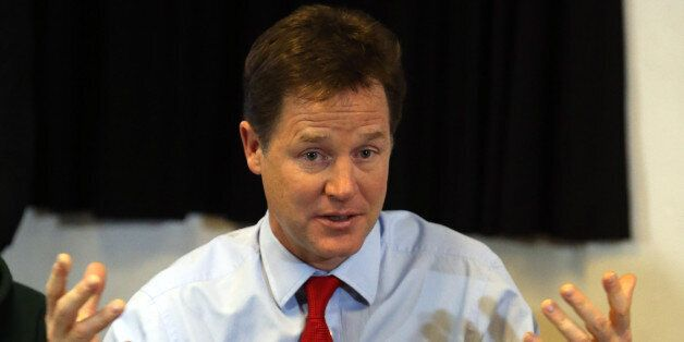 Deputy Prime Minister Nick Clegg talks to youngsters as he helps to launch a scheme to give 16 and 17-year-olds...