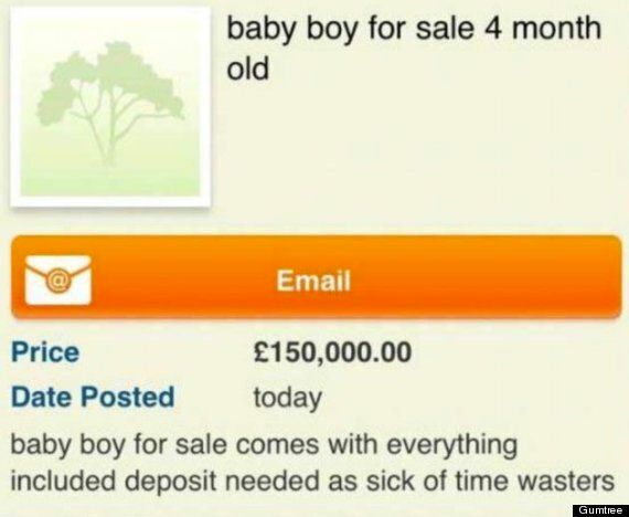 Mother 'Tried To Sell Baby' On Gumtree For