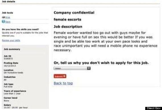 Prostitute Jobs Advertised On Direct Gov