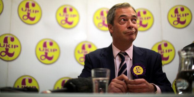 SOUTH SHIELDS, ENGLAND - APRIL 30: UK Independence Party (UKIP) Leader Nigel Farage answers questions...