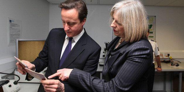 Prime Minister David Cameron and Home Secretary Theresa May visits UK Border Agency staff at Terminal...