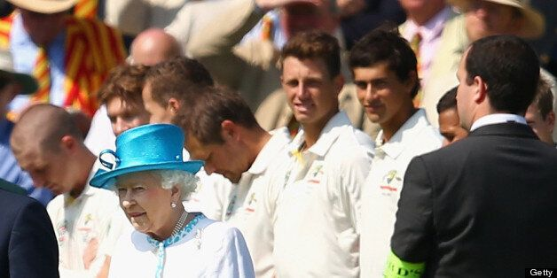LONDON, ENGLAND - JULY 18: James Pattinson and Ashton Agar of Australia look on after meeting Queen Elizabeth...