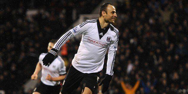 Fulham's Dimitar Berbatov celebrates scoring his side's second