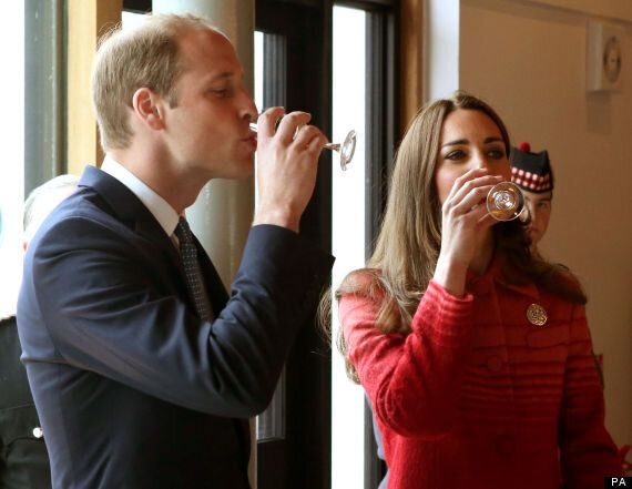 Kate Middleton, Duchess Of Cambridge, And William Throw Back A Whisky At Scottish Distillery