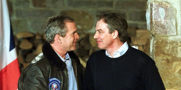 THURMONT, UNITED STATES: (FILES) -- File picture dated 23 February 2001 shows British Prime Minister...