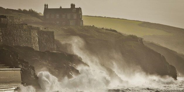 Rough seas at Porthleven, Cornwall, as England and Wales face a battering tonight from the worst storm...