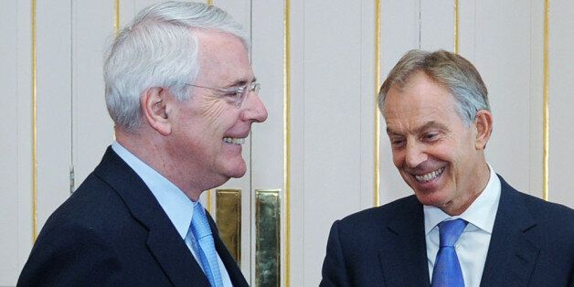 File photo dated 24/07/12 of Former Prime Ministers Sir John Major, Tony Blair and Gordon Brown who are...