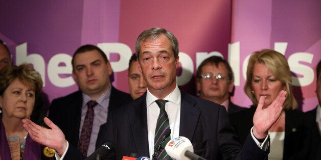 Ukip leader Nigel Farage gives a speech at the Intercontinental Hotel, London, as he celebrates his partyÕs...