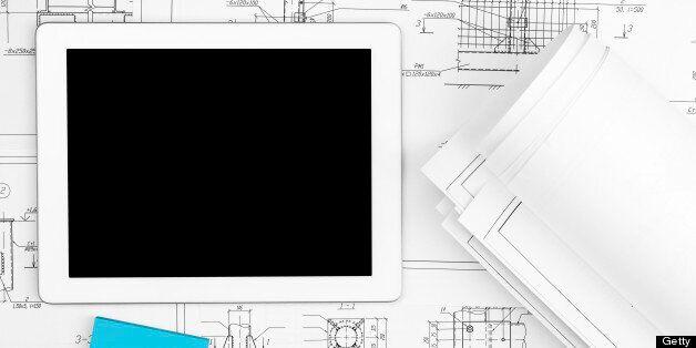 Digital Tablet, blueprints and sticker in