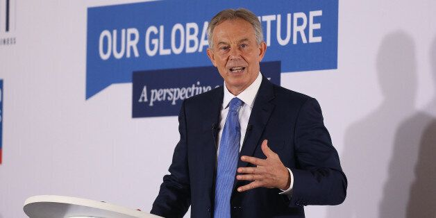 Tony Blair delivers a speech about Europe during a CBI event at the London Business School in central