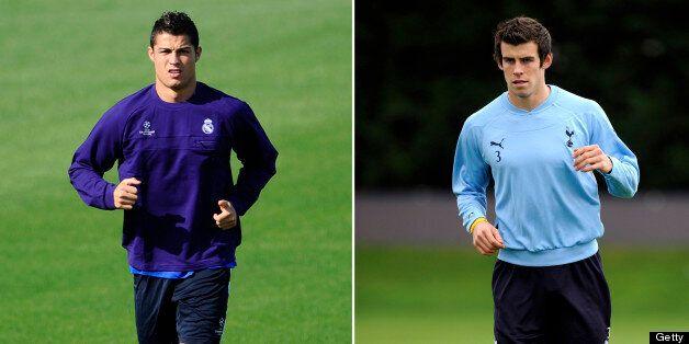 (FILES) Real Madrid's Portuguese forward Cristiano Ronaldo (L) and Tottenham's Gareth Bale take part...