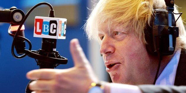 The Mayor of London Boris Johnson responds during his appearance on the LBC 97.3 radio phone-in show,...