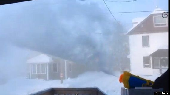 Steaming Hot Water Fired From Waterguns In Sub-Zero North America Is