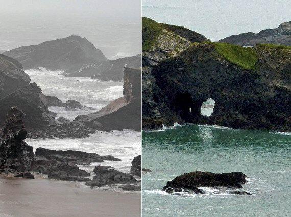 Flood Alerts High Across UK As Huge Waves Sweep Away Iconic Coastline (PICTURES,