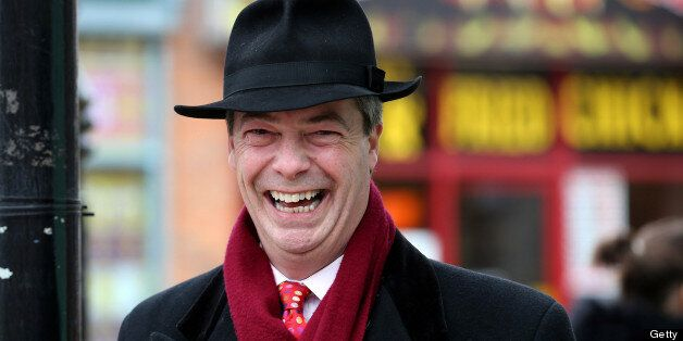 EASTLEIGH, HAMPSHIRE - FEBRUARY 22: UKIP Leader Nigel Farage laughs as he helps campaign for the forthcoming...
