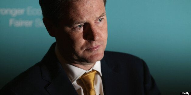 LONDON, ENGLAND - MAY 22: Deputy Prime Minister Nick Clegg speaks during a press conference at Admiralty...