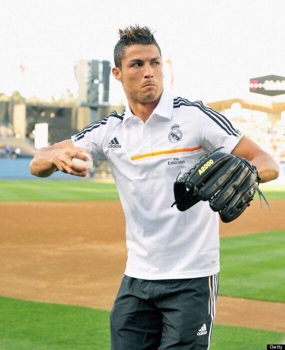 Cristiano Ronaldo Throws Pitch At LA Dodgers