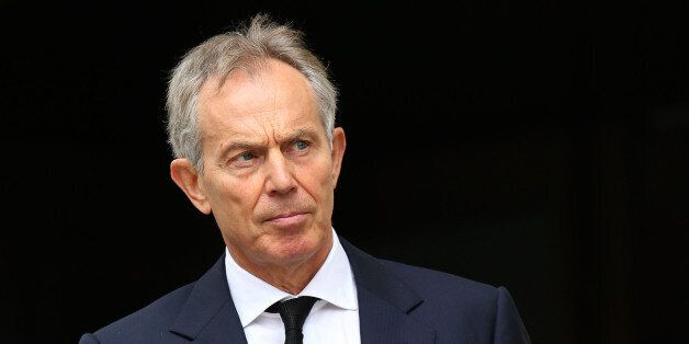 Former Prime Minister Tony Blair leaves the Ceremonial funeral of former British Prime Minister Baroness...