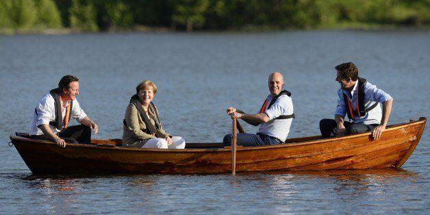 (L to R) British Prime Minister David Cameron, German Chancellor Angela Merkel, Swedish Prime minister...