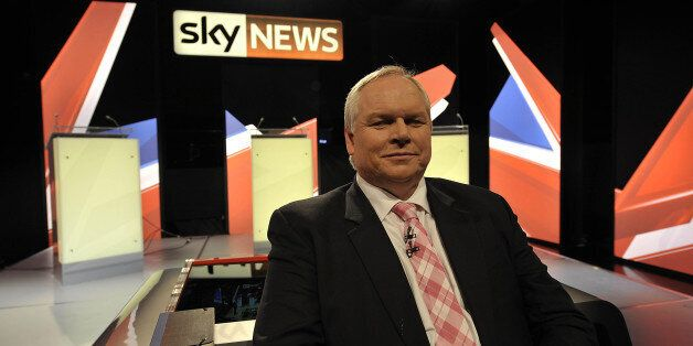Sky News presenter Adam Boulton on the newly erected set inside the studio in Bristol where he will moderate...