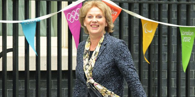 Anna Soubry arrives at 10 Downing Street in central London where Prime Minister David Cameron is putting...