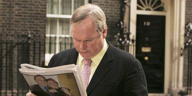 LONDON - APRIL 27: Sky News Political Correspondent Adam Boulton reads a newspaper outside Number 10...