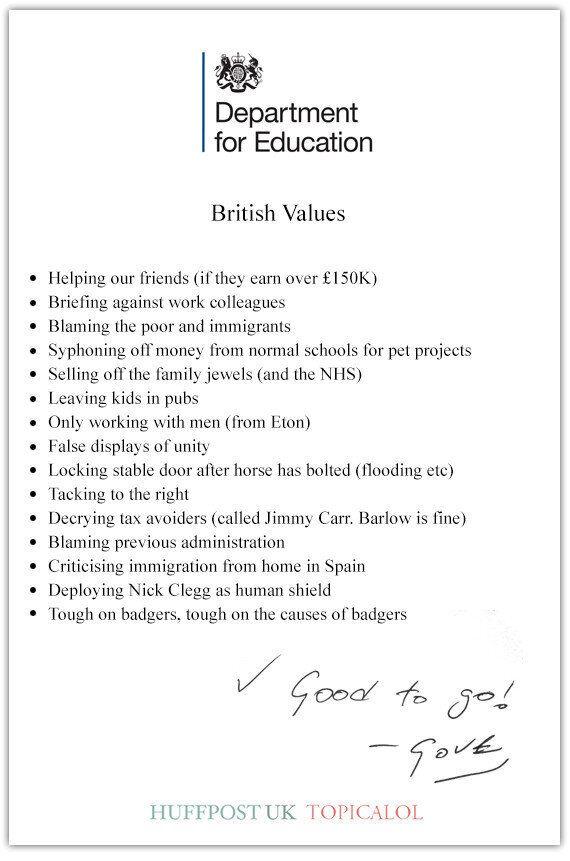 Michael Gove's 'British Values' Revealed In Government Memo