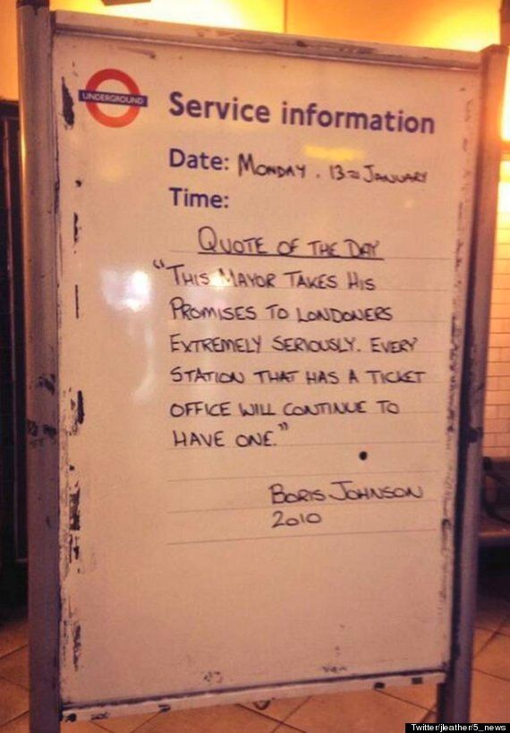 Boris Johnson Mocked By Tube Workers With London Underground Quote Of The Day