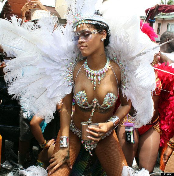 Rihanna Parties In Bejewelled Bikini At Barbados Carnival (PICTURES,