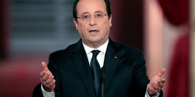 PARIS, FRANCE - JANUARY 14: French president Francois Hollande speaks during a press conference to present...
