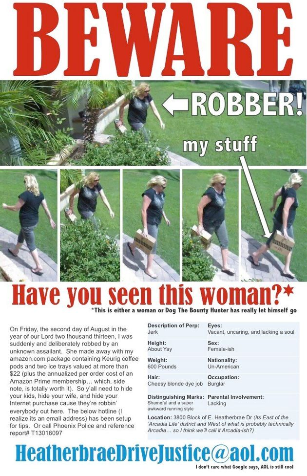 Man Creates Hilarious Flyers To Catch Woman Who Stole His Amazon Parcel