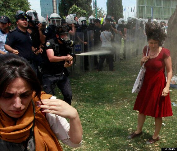 Turkish Policeman Fatih Zengin 'Faces Jail For Tear Gassing Woman In Red Ceyda Sungur'